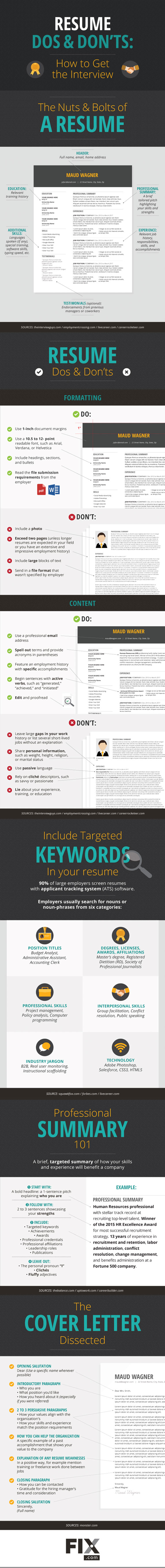 Resume Dos & Don\'t Infographic | Cool Infographics | Pinterest