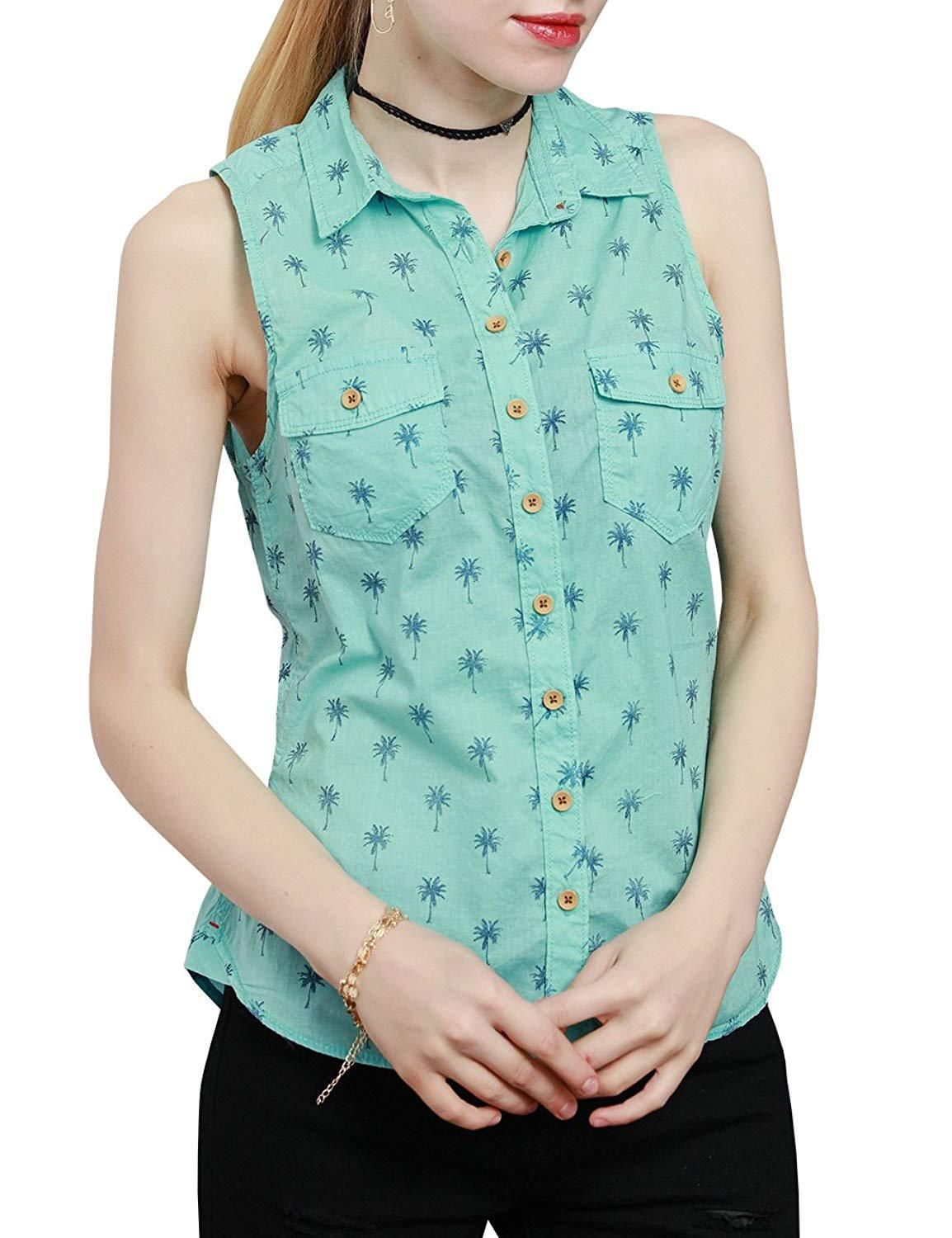 d4e5a036d948c Margin Point Version Women Sleeveless Print Button Down Shirt Casual Cotton Shirt  Top with Pockets at
