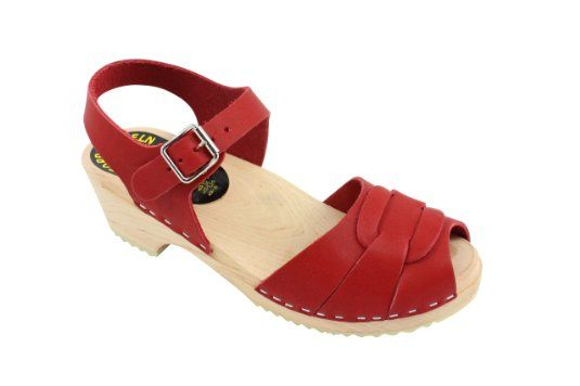 193460ddb21650 Amazon.com  Lotta From Stockholm Torpatoffeln Swedish Clogs   Low Heel Peep  Toe Clogs in Red Leather  Shoes