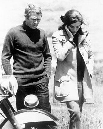 Jacqueline Bissett and McQueen on the set of Bullitt.