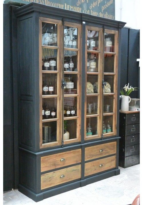 superbe biblioth que bois vitr e style indsutriel loft. Black Bedroom Furniture Sets. Home Design Ideas