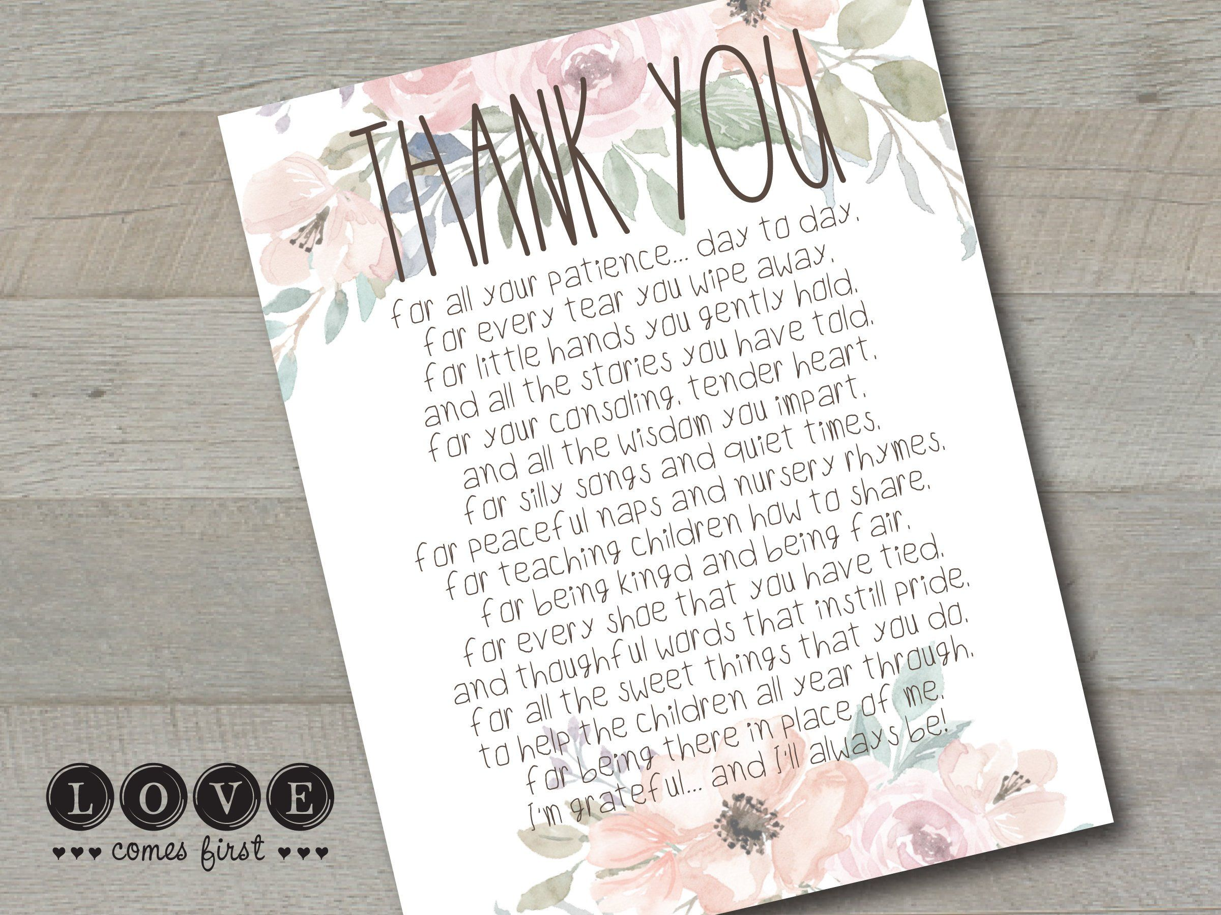 A Parent S Thank You Letter To A Teacher Printable Etsy Thank You Poems Teacher Printable Teacher Thank You Letter