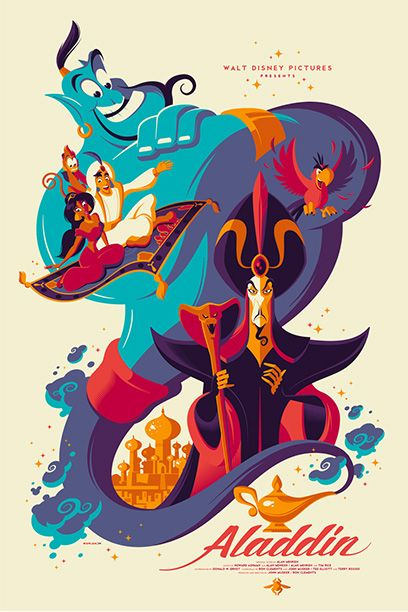 """This modern art-work is a perfect cover for the street-rat, his princess, his furry and magical friends, and the villain! Credit to Mondo's """"Oh My Disney"""" SXSW Exclusive!"""