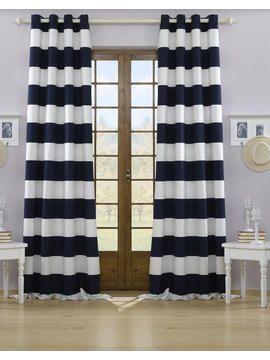 Vorhang Navy Beige, Blau, Weiß Strapazierfähig. Wasserabweisend. Lichtecht.  Und Erfrischend Maritim