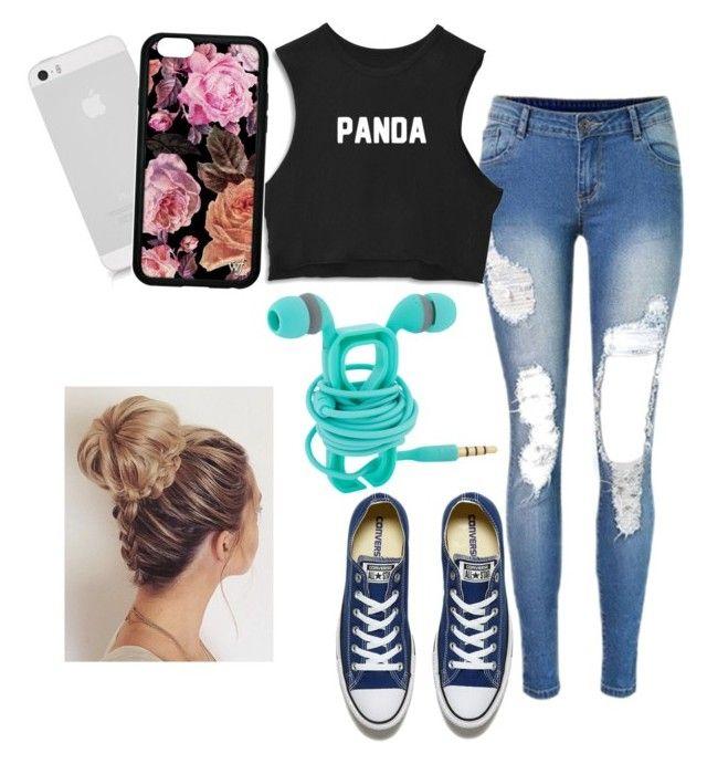 """Panda panda panda panda"" by bratzlover-i ❤ liked on Polyvore featuring Converse"