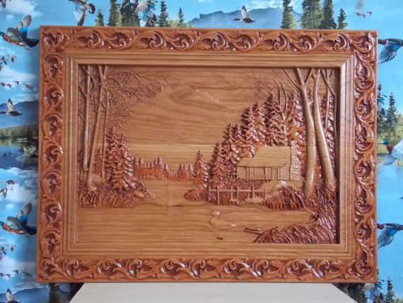 Cabin Wall Decor  Log Cabin Wood Carving  by TheWoodGrainGallery