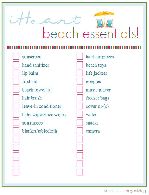 beach essential checklist printable