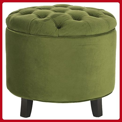 Safavieh Hudson Collection Amelia Tufted Storage Ottoman, Fern - Improve your home (*Amazon Partner-Link)