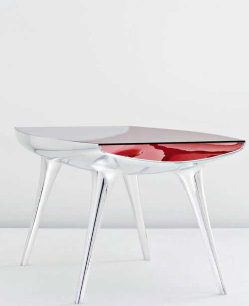 """MARC NEWSON b. 1963    """"Chop Top Table,"""" ca. 2006    Polished and painted aluminum, glass. Produced by Pod Edition, UK and    Galerie kreo, France. Editioned by Galerie kreo, France."""