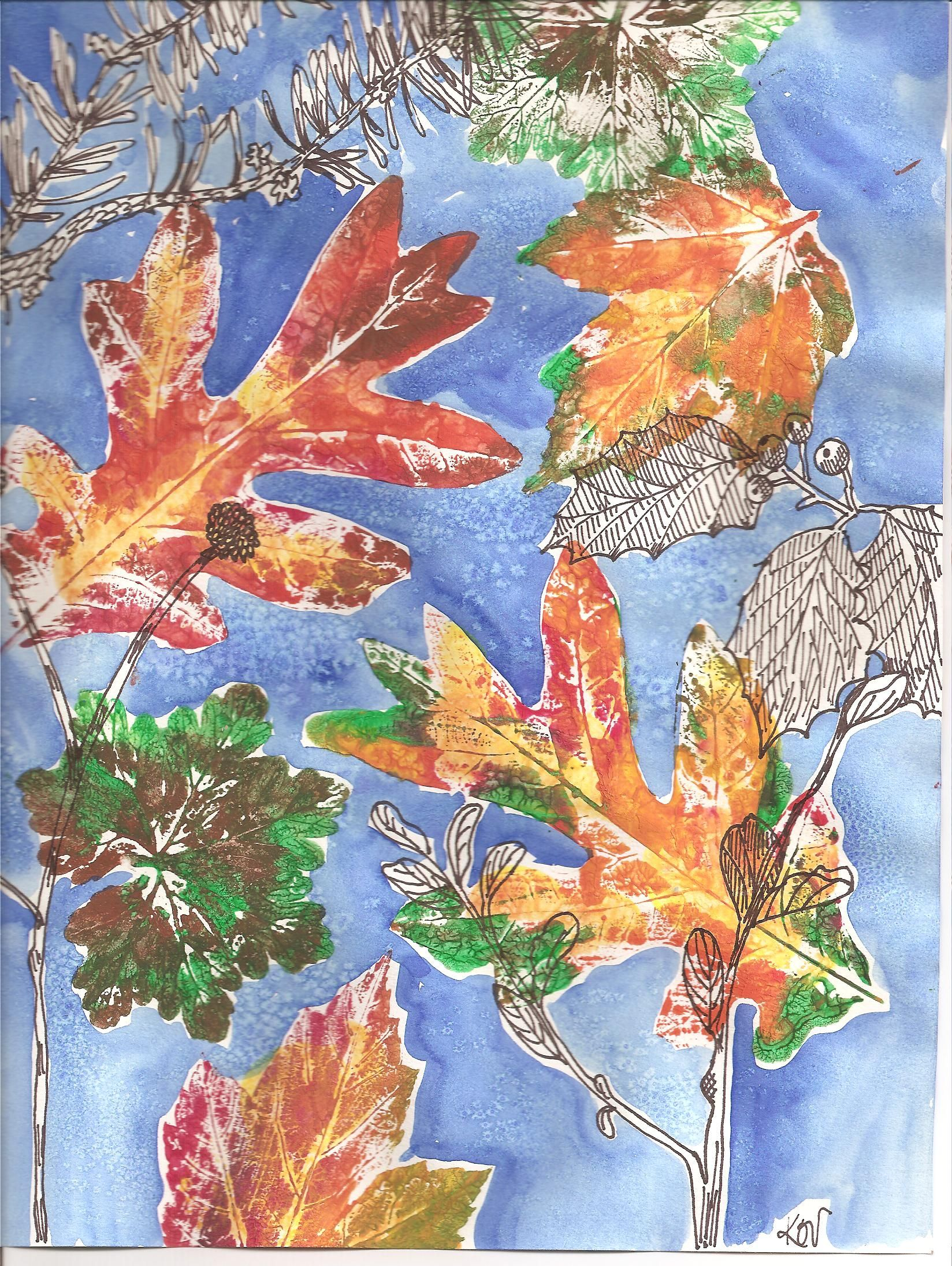 Contour Line Drawing Leaf : Contour line drawing with ultra fine sharpie watercolor