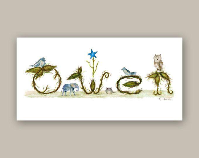 Personalized Nursery Decor Wall Art Name Sign Print - Nursery ...