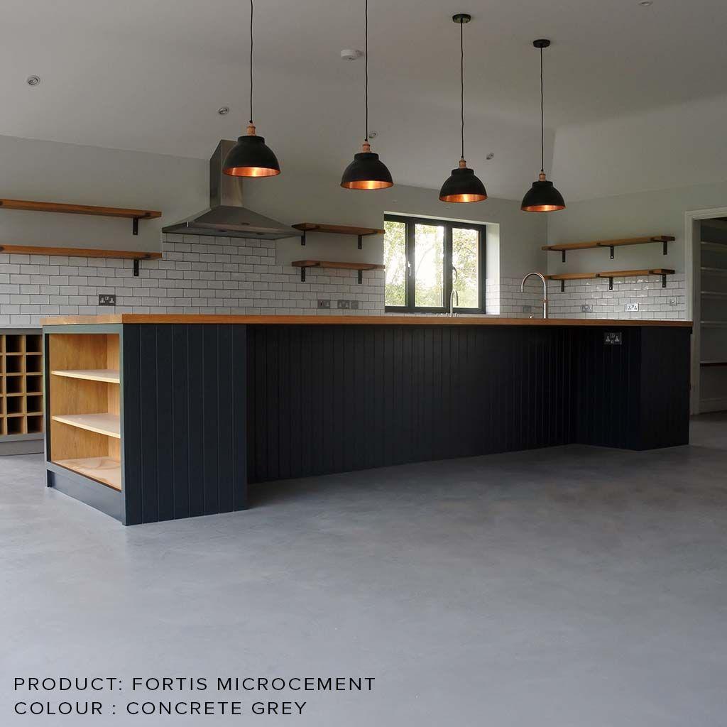 Microcement Polished Concrete Kitchen Concrete Floors Living Room House Flooring