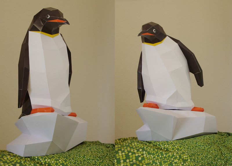 Papercraft Penguin Diy Kit (Pdf), Paper Penguin, Template, 3D