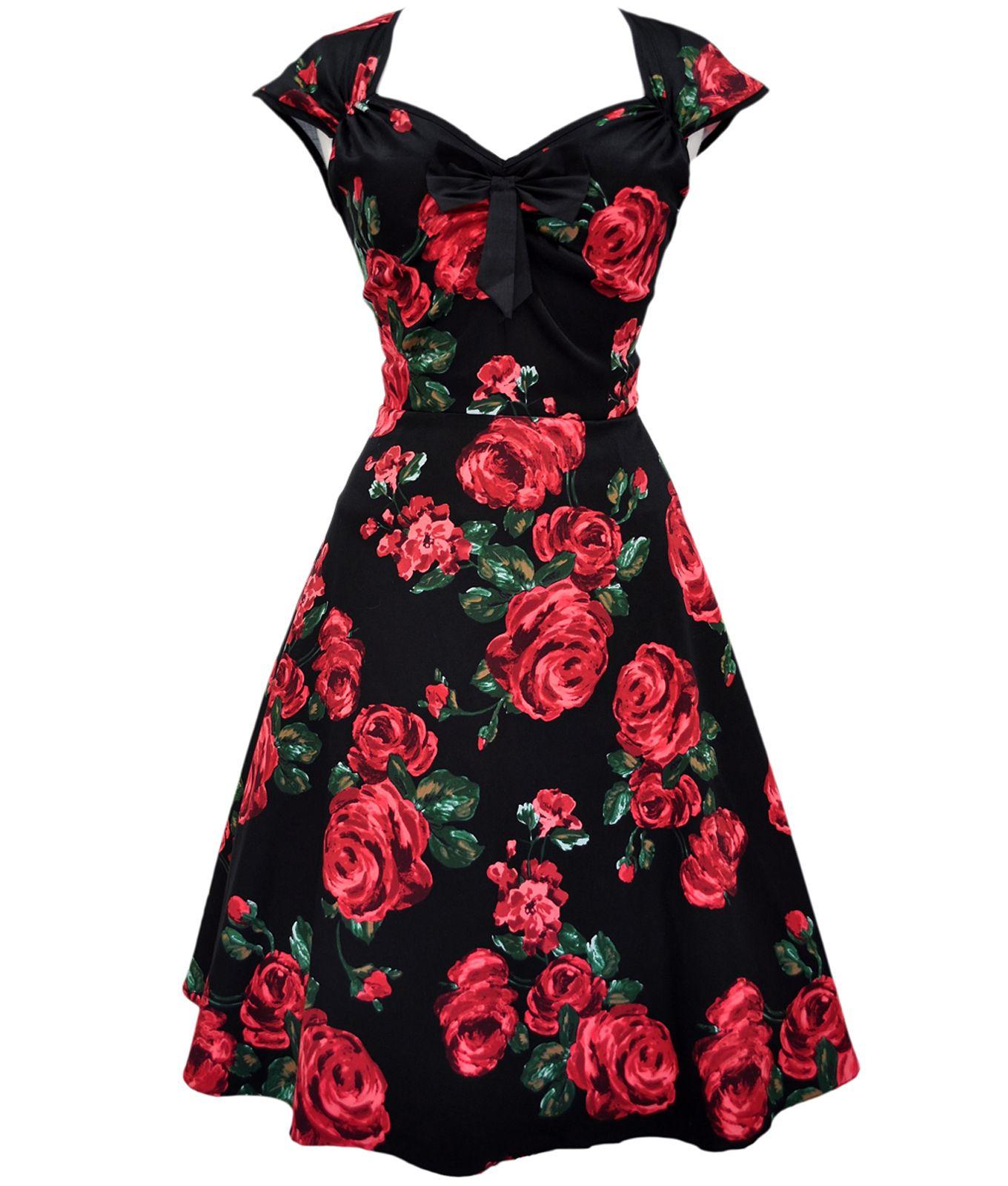 Lady vintage us isabella red rose floral dress black womenus
