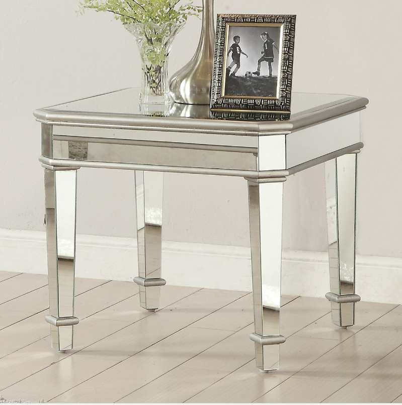 Coaster Cassandra Silver Mirrored End Table Mirrored End Table End Tables Mirrored Furniture