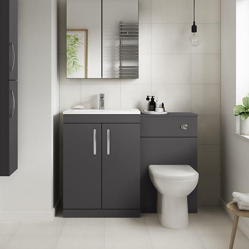 Ashford Grey Gloss Combination Unit With Santorini Toilet Toilet Vanity Unit Toilet And Basin Unit Bathroom Wall Units
