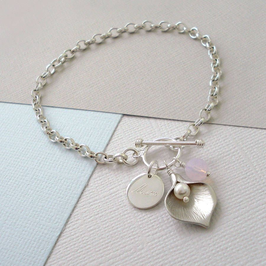 Personalised Calla Lily Bracelet By Mia Belle Notonthehighstreet