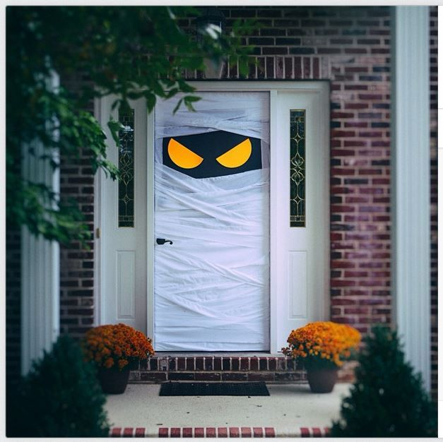 spooky door this idea could easily be adapted for a classroom door so cute - Cute Halloween Door Decorating Ideas