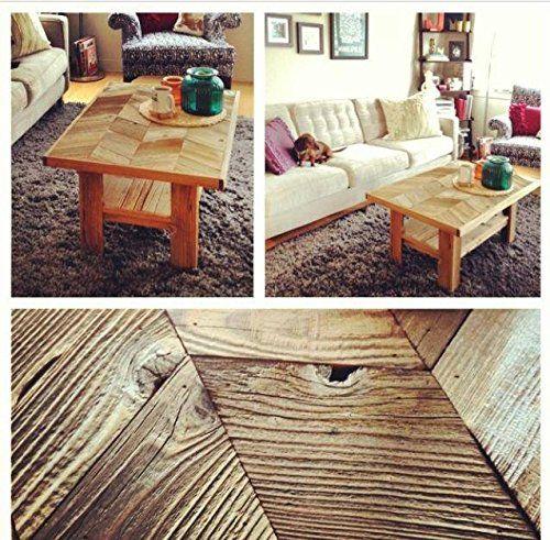 Handmade Furniture Reclaimed Wood Chevron Coffee Table With Shelf