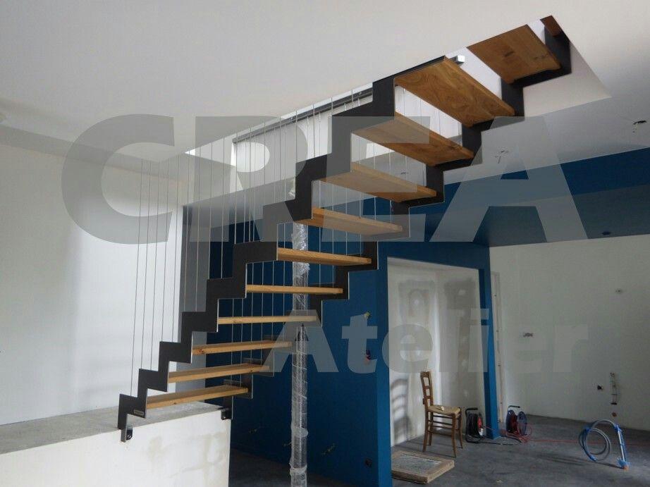 escalier droit limons cr maill res la fran aise garde corps c bles verticaux marches ch ne. Black Bedroom Furniture Sets. Home Design Ideas