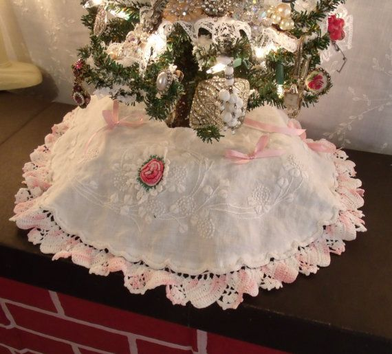 BLACK FRIDAY Mini Christmas Tree Skirt From Vintage Linens Trims Ribbons Shabby Cottage Chic Pink White