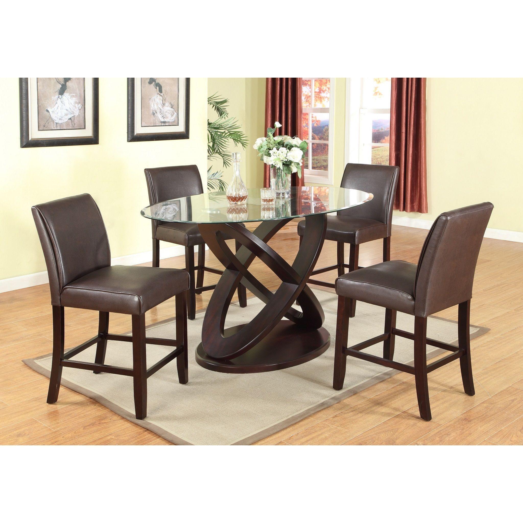 Fine 5 Piece Modern Counter Height In Dark Brown With Glass Inzonedesignstudio Interior Chair Design Inzonedesignstudiocom