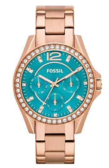 Fossil 'Riley' Round Crystal Bezel Bracelet Watch, 38mm available at #Nordstrom