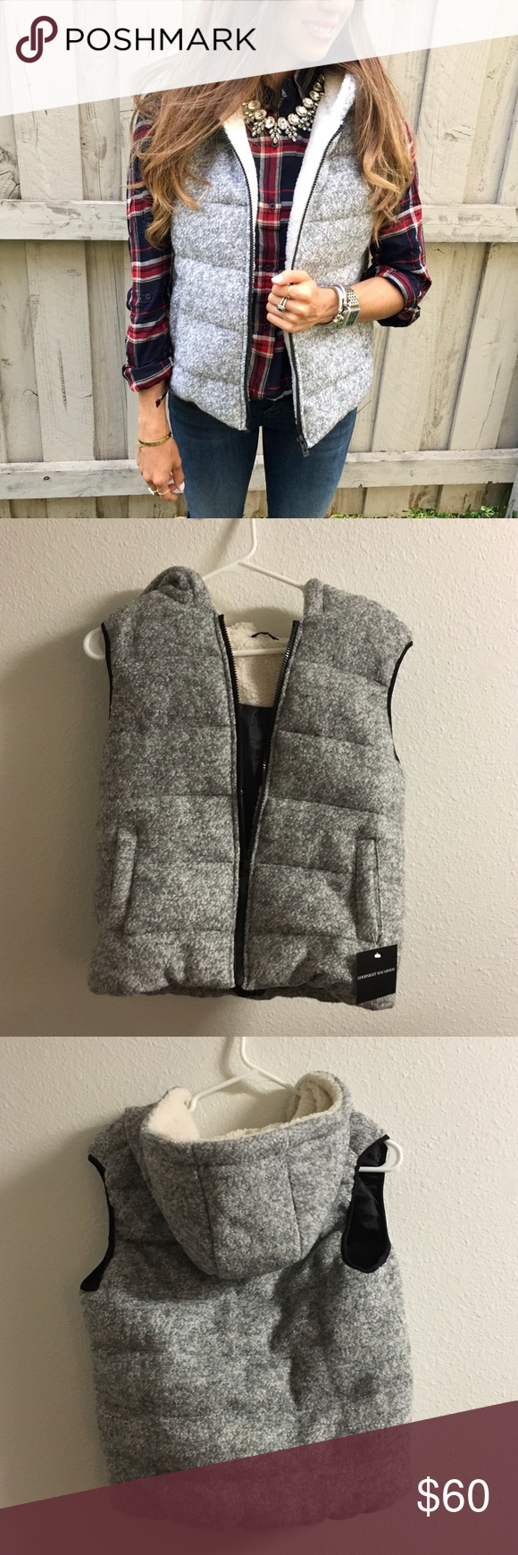 Gray wool and fleece hooded puffer vest nwt coats and hoods