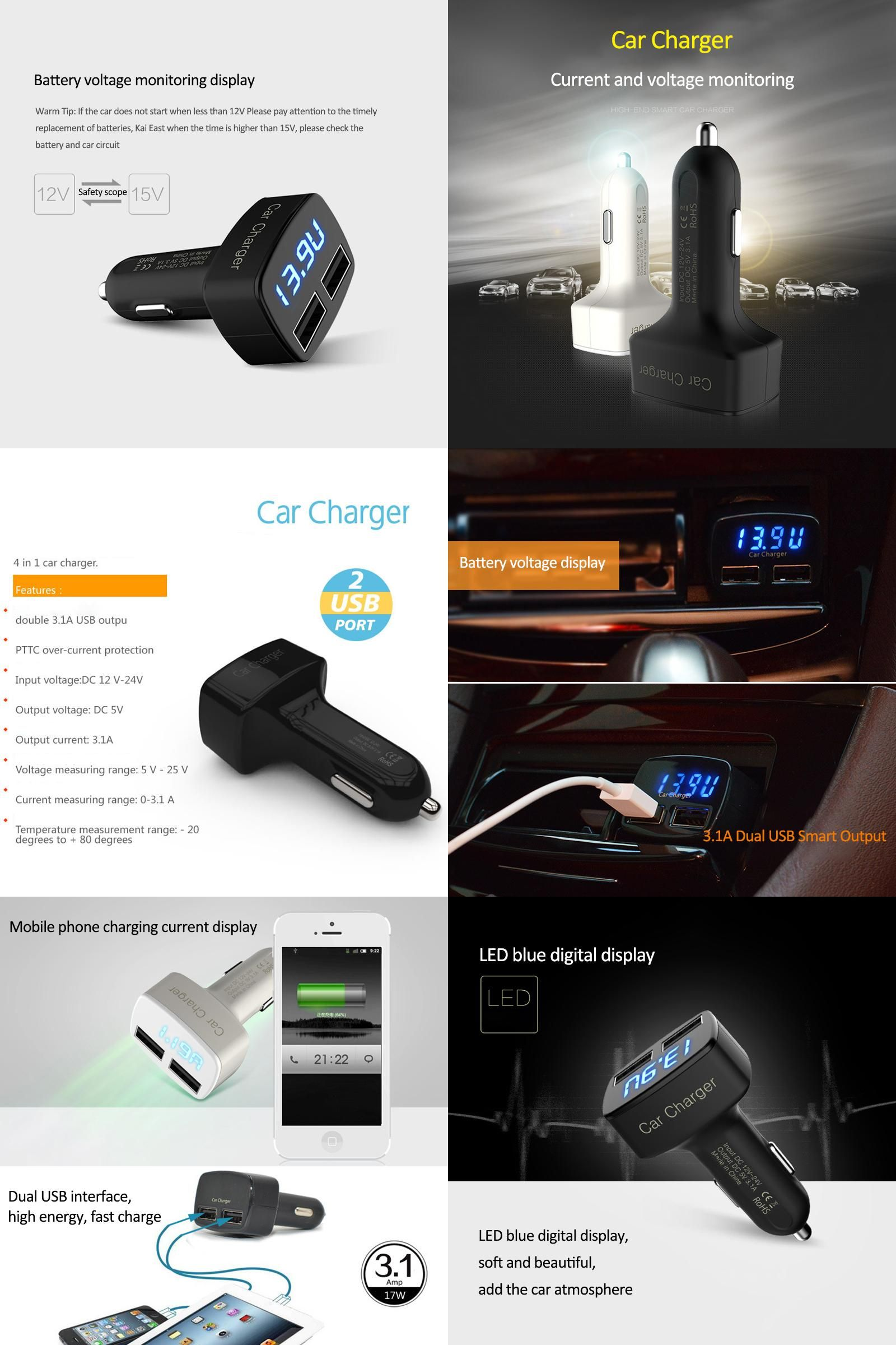 Visit To Buy 4 In 1 Dual Usb Car Charger Voltmeter Volt Current Temperature