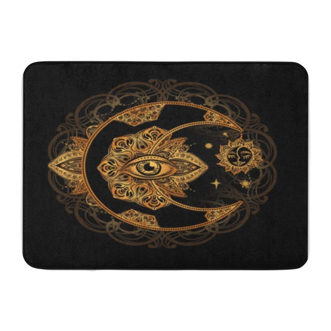 Photo of Boho Chic Tattoo Golden Crescent Moon and Sun Doormat Floor Rug Bath Mat – Products