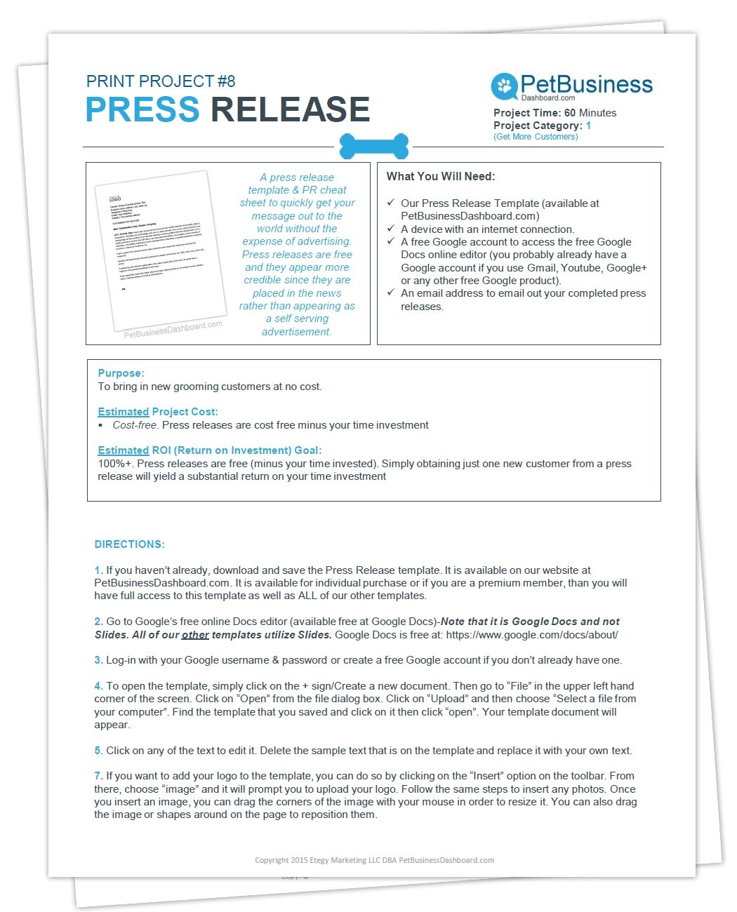 Press Release Template  Cheat Sheet  Pet Business Dashboard