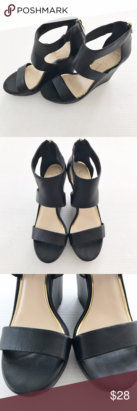 Jessica Simpson Black Wedges Worn a handful of times and in great condition. Black wedges with zippers for easy on/off. Jessica Simpson Shoes Wedges