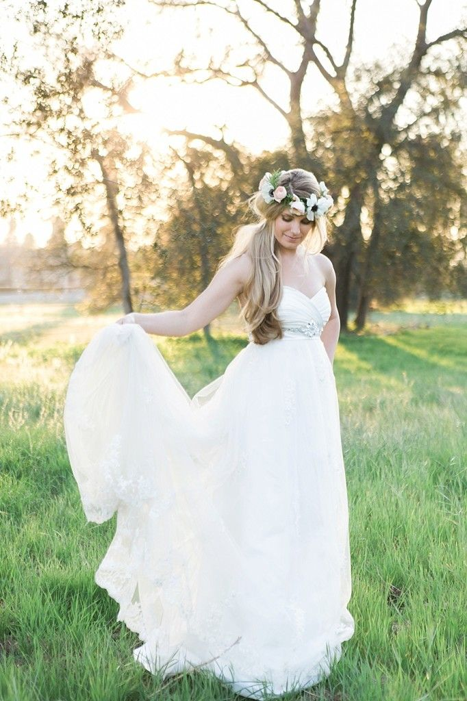 Redlands Wedding Photography Bridal Portraits With Flower Crown In Field Of Gr California Bride