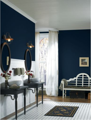 From Colonial To Contemporary Bathrooms Can Be Bold In Both Color And Design The Deep Rich Loyal Blue Sw 65 Blue Accent Walls Best Bedroom Colors Blue Rooms