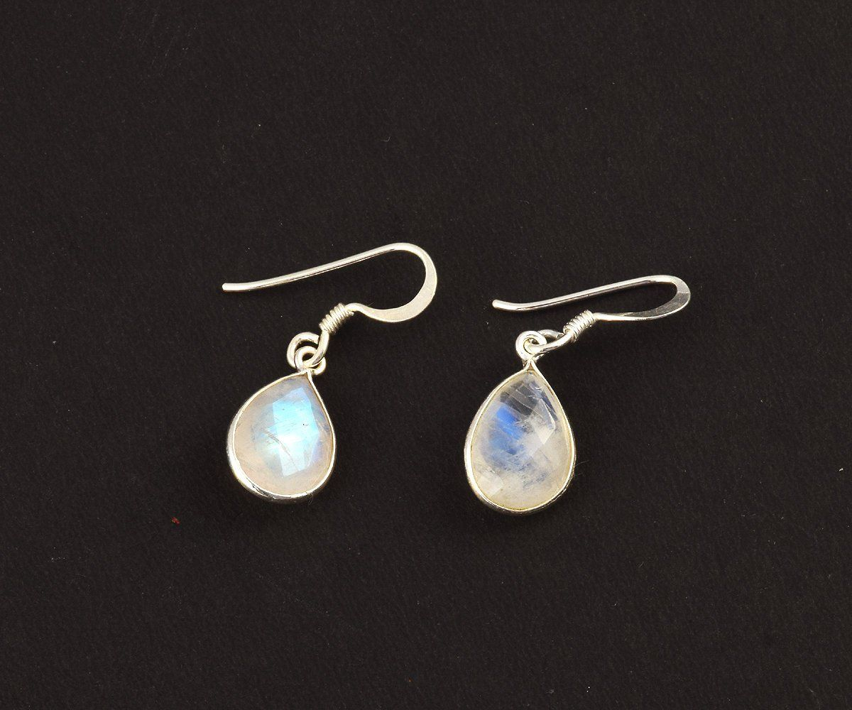 925 Sterling Silver Jewelry Rainbow Moonstone Gemstone Dangle Boucles d/'oreilles 2.5/""