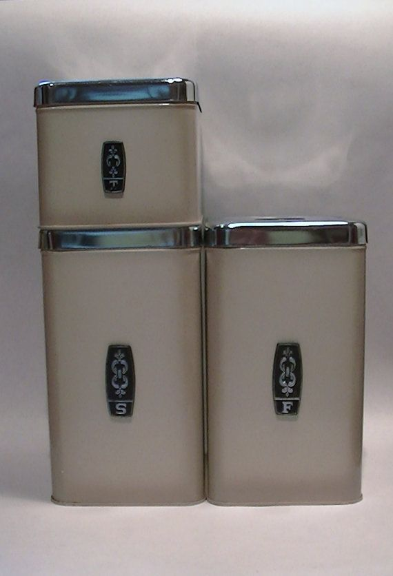 ekco chrome and metal kitchen counter canisters set of 3