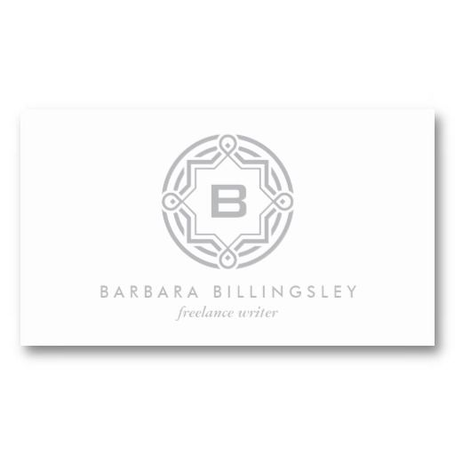Decorative circle logo with your initial lt gray business card decorative circle logo customize with your initial and info business card for writers reheart Choice Image