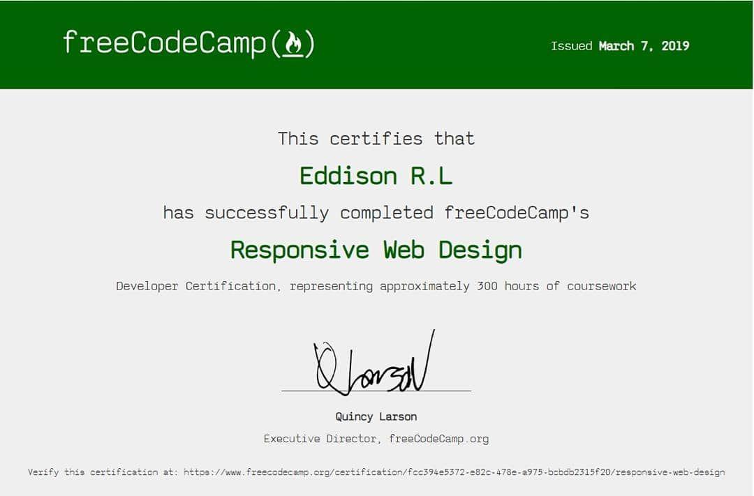 Freecodecamp Certificacion De Diseno Web Responsivo Certification Responsive Web Desing Diseno Web Responsivo Diseno Web Responsivo