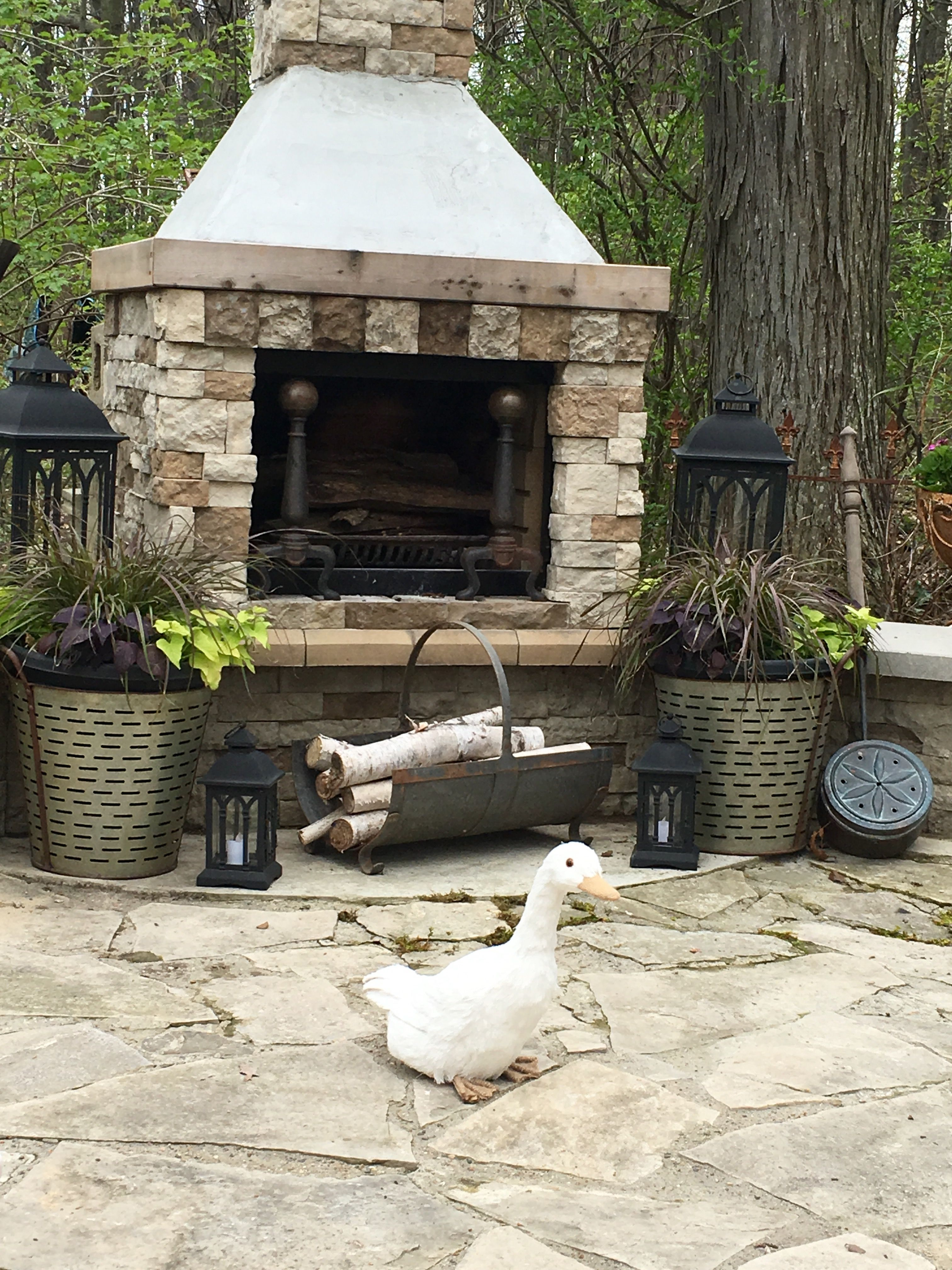 Outdoor Fireplace Wooded Area Repurposed Olive Bucket Planter