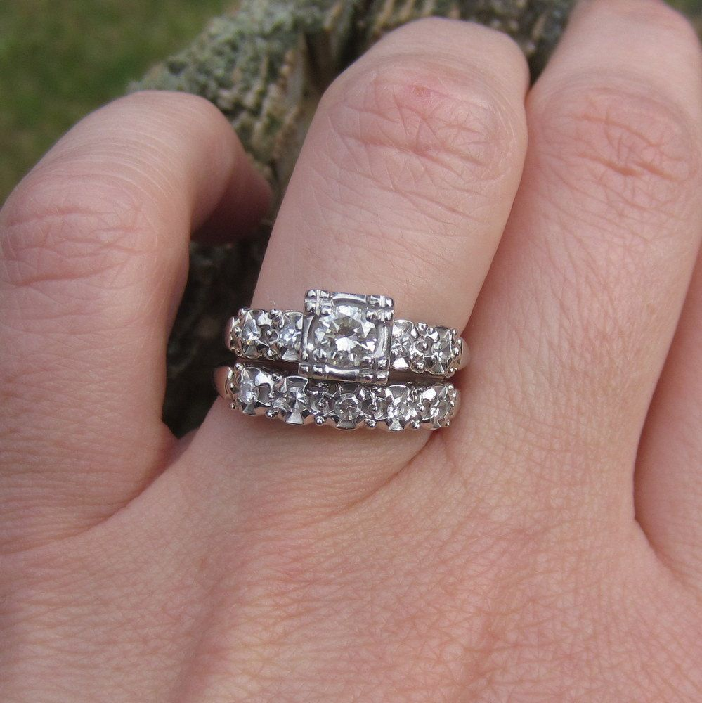 Vintage 1940s White Gold. Diamond. Engagement Ring. Wedding Band ...