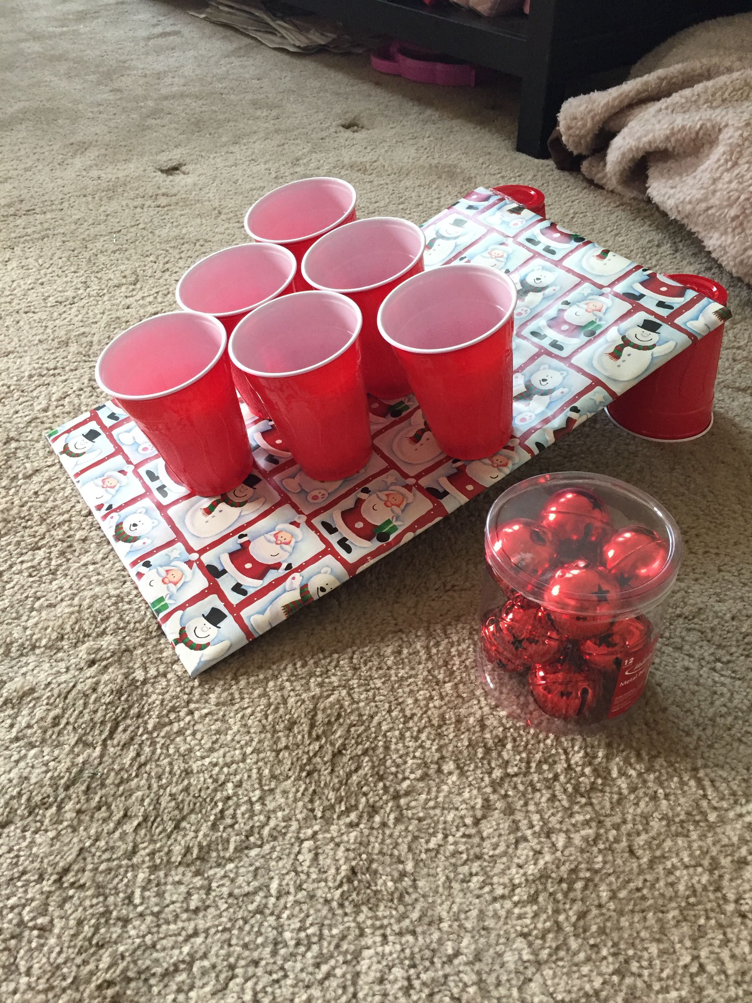 Jingle Bell Toss Wrapped Cardboard Solo Cups And Jingle Bells Metal Kids Christmas Party School Christmas Party Preschool Christmas Party
