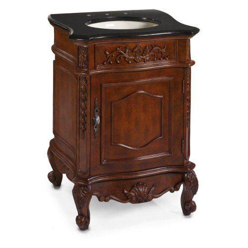 Winslow 26 Inch Black Granite Top Cherry Sink Cabinet 37 Hx26 W
