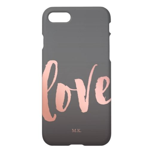 Love | Rose Gold & Gray | Monogram iPhone 7 Case