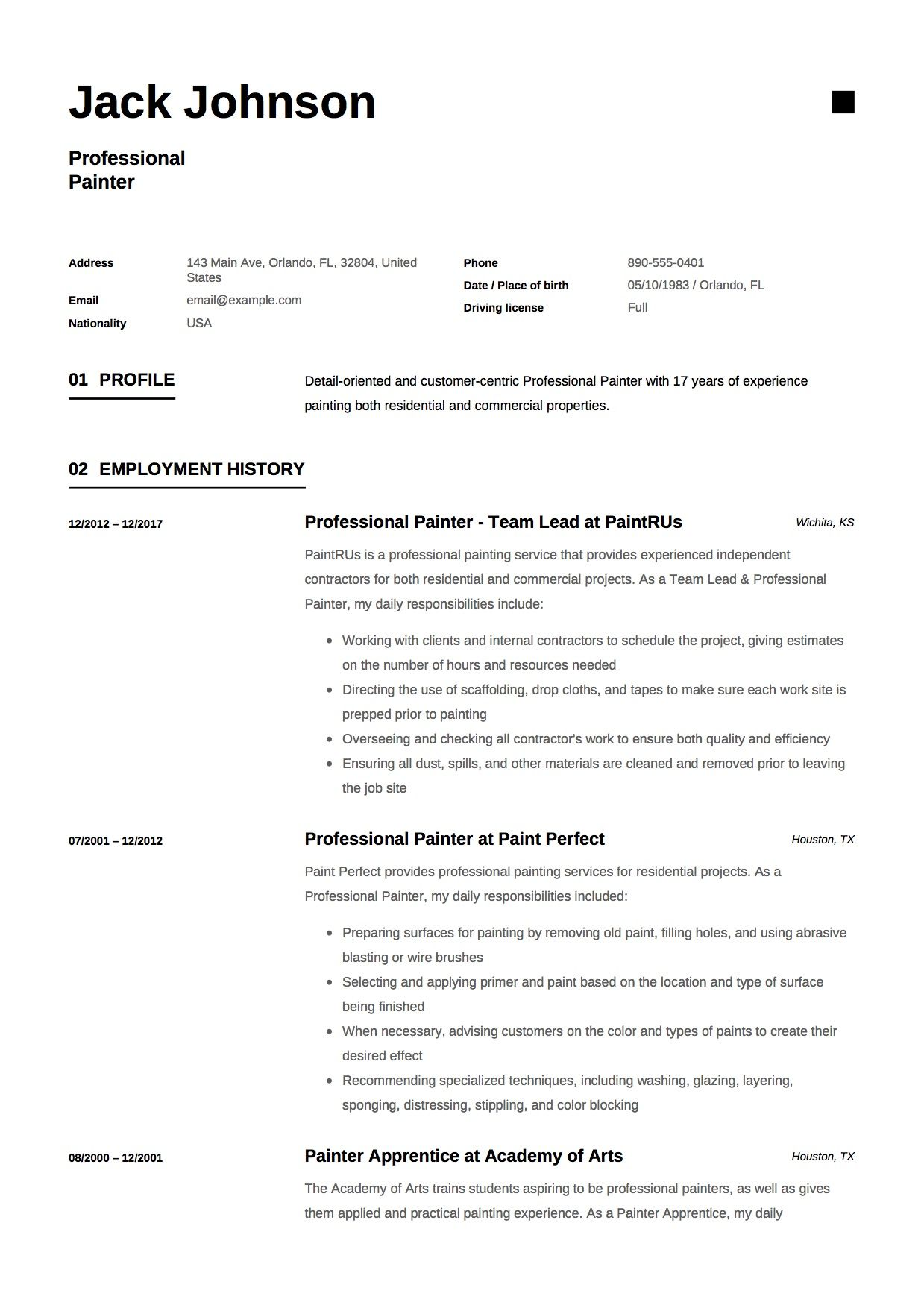 Commercial Painter Resume Template Resume Guide Resume Commercial