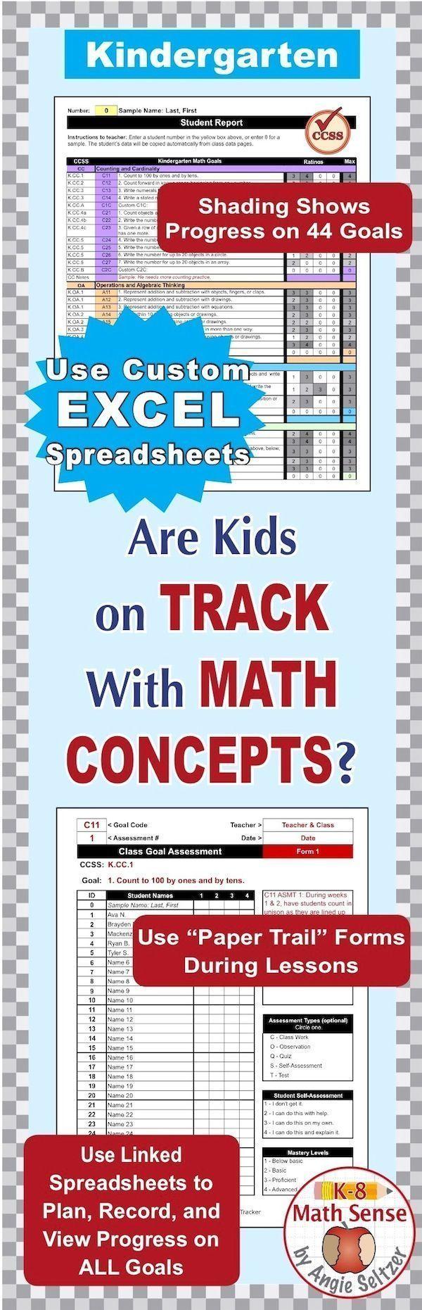 Kindergarten Common Core Math EXCEL Goal Tracker Spreadsheet with ...