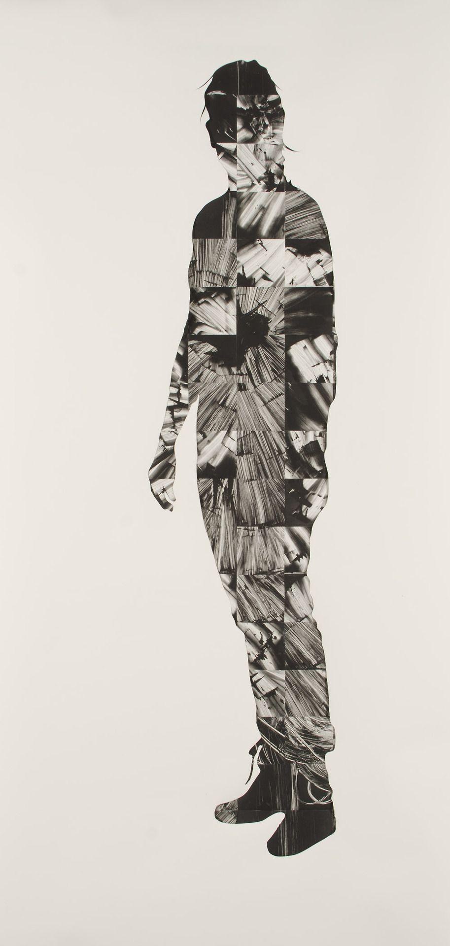 "Kate McQuillen. Backscatter Body Scan, 2013. Collaged monoprint under Rives BFK mask, 81 x 34""."