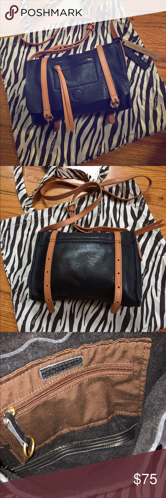 """Lina Pelle leather crossbody bag Lina Pelle leather adjustable crossbody/shoulder bag. 10""""x7"""". Inside and outside zippered pocket. Super soft leather. Features an adorable """"loose"""" buckle look on the bottom! Used only once. Excellent condition. Comes with dust bag that can also be used as a tote. :) Lina Pelle Bags Crossbody Bags"""