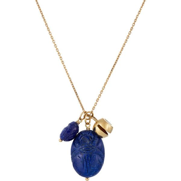 Aurélie Bidermann Carved Scarab & Bell Pendant Necklace (€2.095) ❤ liked on Polyvore featuring jewelry, necklaces, colorless, anchor pendant necklace, gold anchor pendant, long necklace, cable chain necklace and gold chain necklace