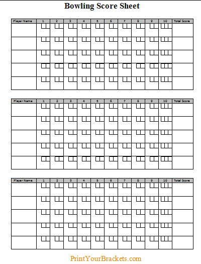 Bowling Score Sheet With Pin Template   Sports Bowling