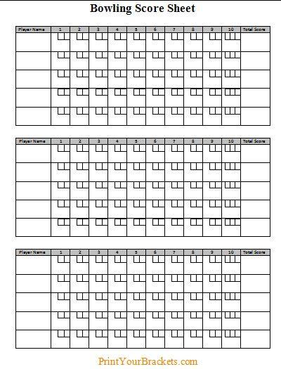 Bowling Score Sheet … | Pinteres…